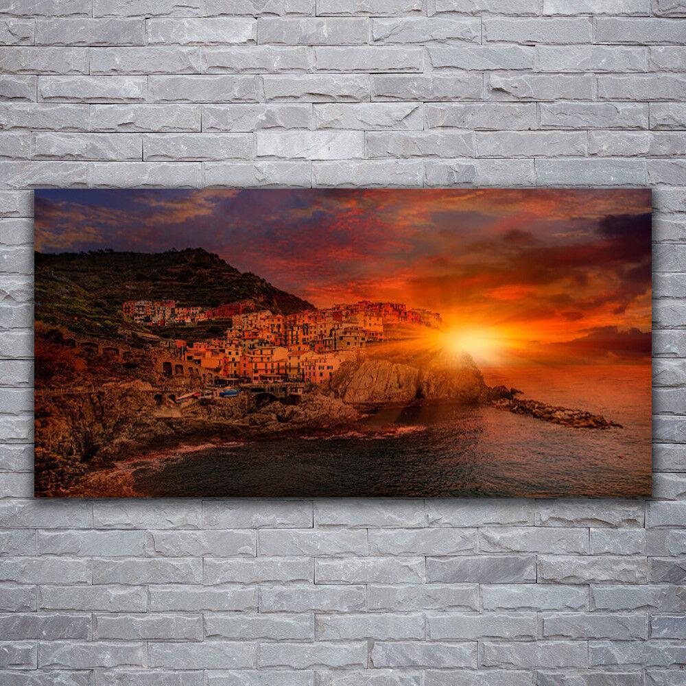 Photo sur toile Tableau Image Impression 120x60 Paysage Mer Ville Soleil