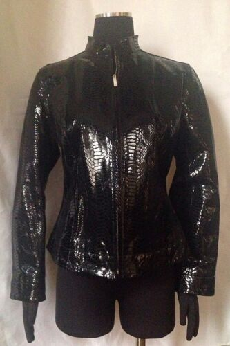 moda Leather 1 condizioni Snakeskin Alta Ottime Size Black Jacket Chico's 0Twqd0