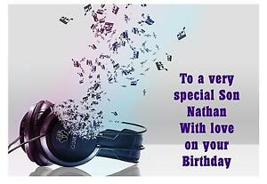 Image Is Loading Headphone Music Birthday A5 Card Personalised Son Sister