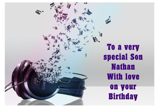 Headphone Music Birthday A5 Card Personalised Son Sister Cousin