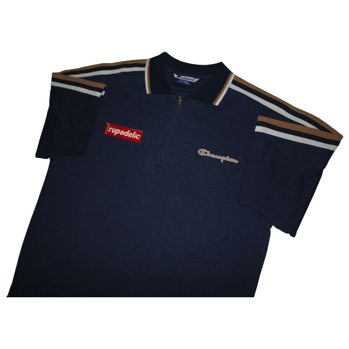Champion OG 90s Striped 1 4-Zip Polo - Navy bluee XL