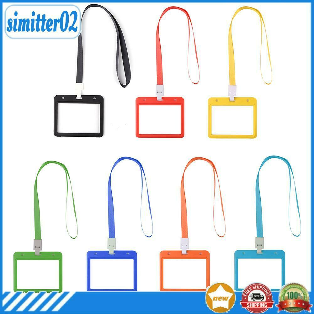 ☆ Double Sided ID Card Protector with Lanyard Waterproof Name Badge Holder