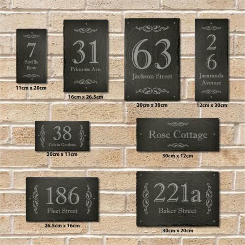 Personalised Slate Plaque Door Number House Name Sign Victorian Swirl All Sizes