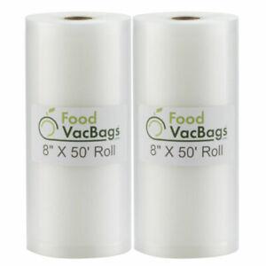 2x Food Vac Bags 8x50 Rolls 4 Mil Vacuum Sealer Bags HUGE Food Saver 100-Feet