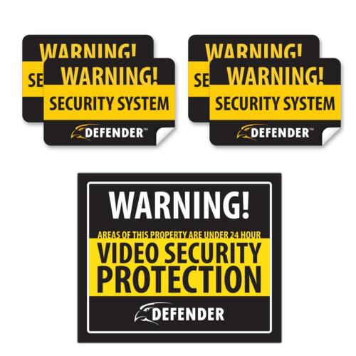 Defender SP102-SGN Indoor Video Security System Warning Sign with 4 Window Warni