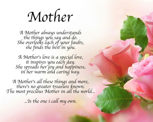 Personalised Mother Poem Birthday Christmas Mothers Day ...
