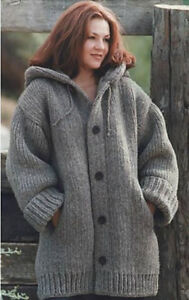 Knitting Pattern Cardigan Jacket : Knitting Pattern for Ladies Chunky Knit Jacket/Cardigan 46 - 66 in - EASY! (141)