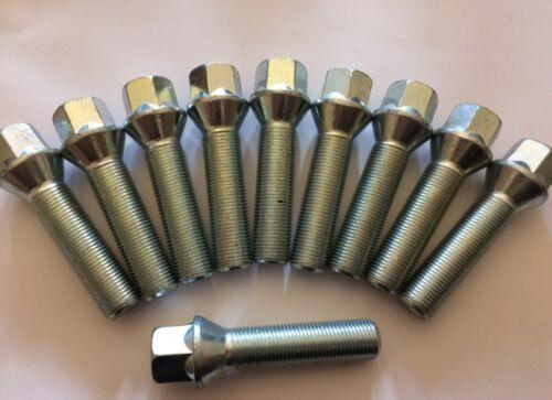 10 X M14X1.5 Plata 60 Pernos De Rueda De Aleación ° Rosca 55mm para Opel Vivaro