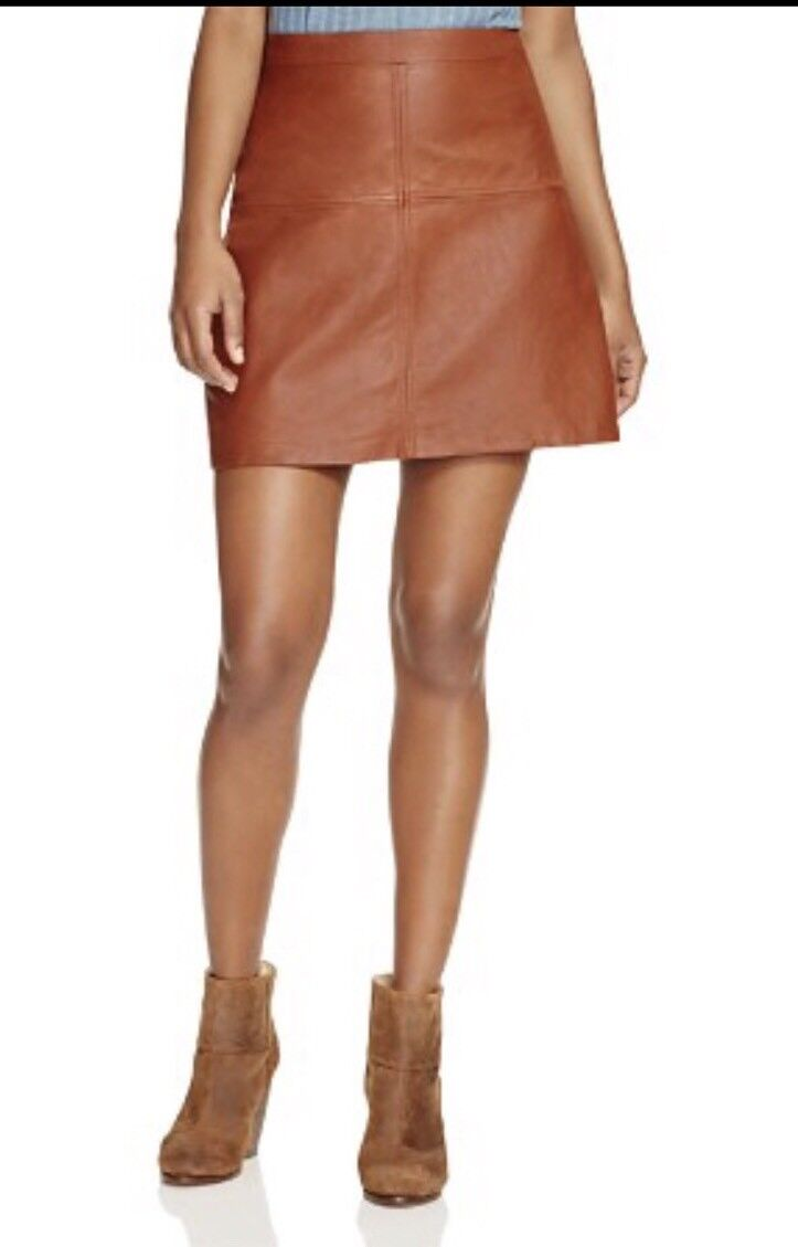 Sanctuary NWT Womens Ella Brown Leather Above-Knee A-Line Skirt 0