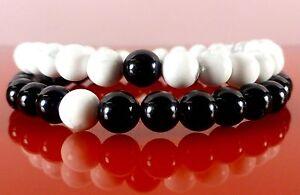Unisex-Friendship-Bracelets-Black-Onyx-White-Howlite-Gemstone
