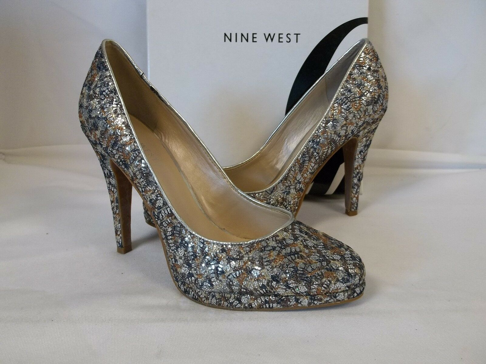Nine West 7.5 M Rocha Silver Multi Farbe Heels NEU Damenschuhe Schuhes