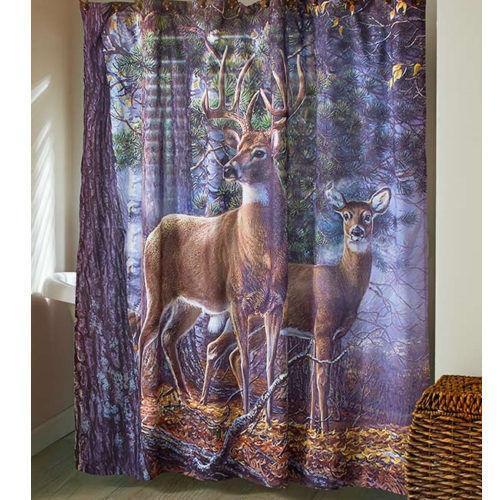 . Whitetail Deer Shower Curtain Fabric Rustic Primitive Woods Cabin Bathroom  Decor
