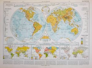 Details about 1913 MAP THE WORLD VEGETATION RACES RELIGIONS LAND HEIGHTS &  SEA DEPTHS