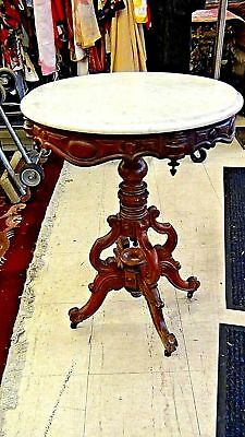 Antique Victorian Round Marble Top Walnutcarved Ornate Parlor Lamp Coffee Table Ebay