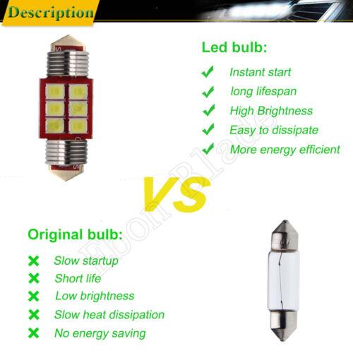 2Pcs White 28MM Festoon 3030 6 SMD LED Car Interior Reading Dome Light 12V 260LM