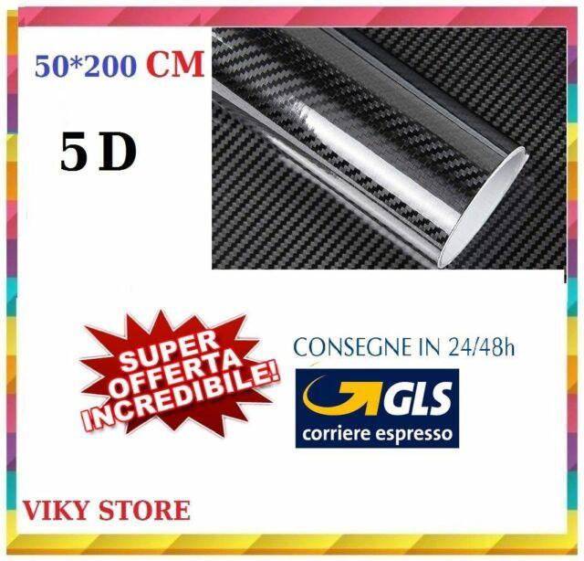Rotolo pellicola effetto carbonio 5D adesivo sticker LUCIDO  50x200cm 5D OFFERTA