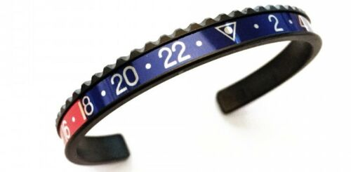 Speedometer Official Black Steel with Blue /& Red Insert Bangle Bracelet