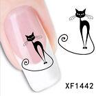 Hot Lovely Women Black Cat Nail Art Water Transfer Slide Decals Sticker