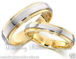 79969b8bdaa 14K WHITE YELLOW GOLD HIS   HERS MATCHING WEDDING BANDS MEN S ...