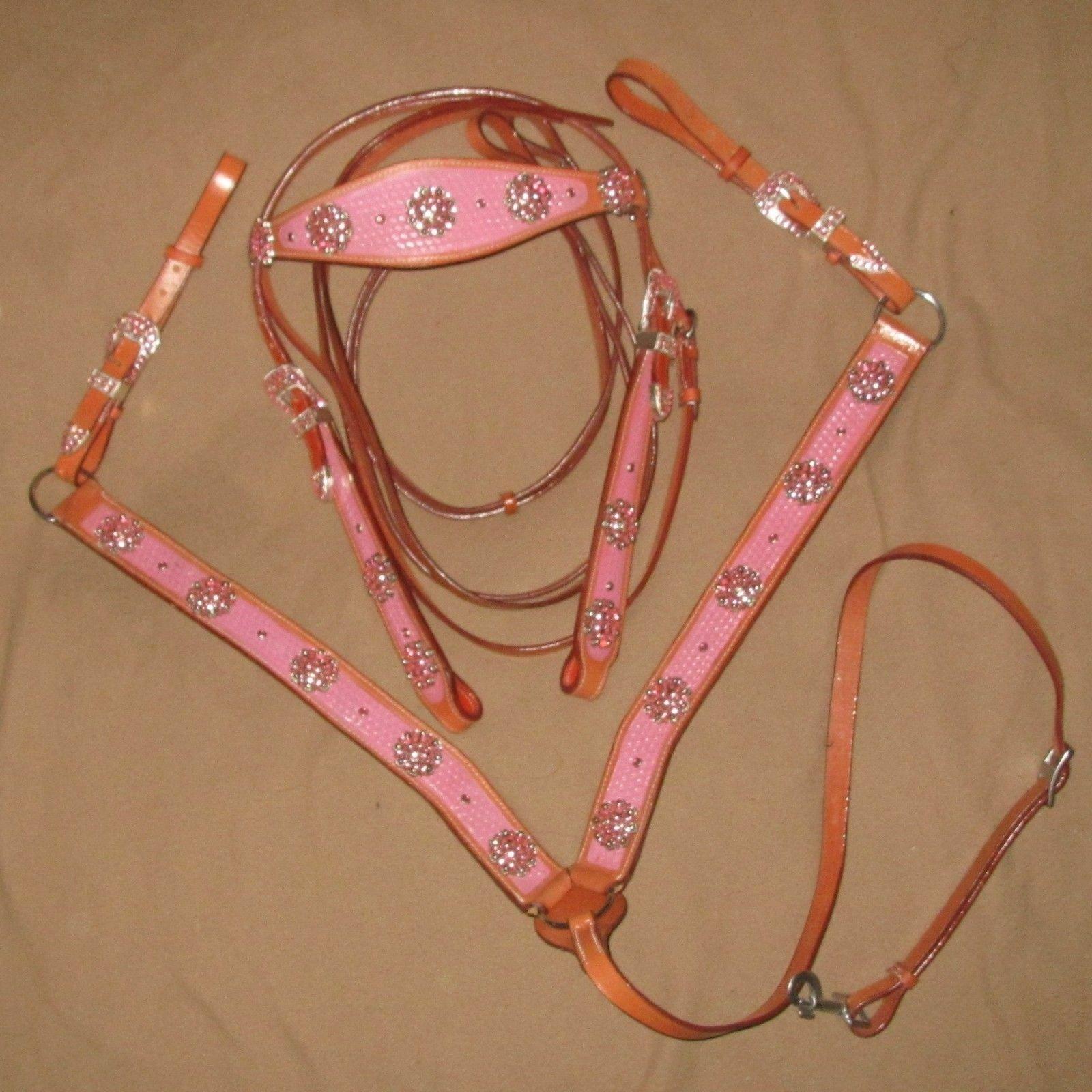 SALE Western Set - Bridle and breast collar Full horse PINK, blueE, GREEN