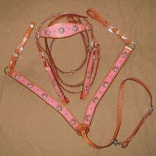 Western Set - Bridle and breast collar Full/horse PINK, BLUE, GREEN
