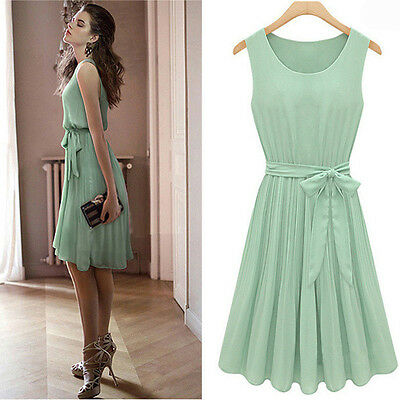 New Fashion Women Pleated Chiffon Bow Belt Sleeveless Skirt Vest Casual Dress