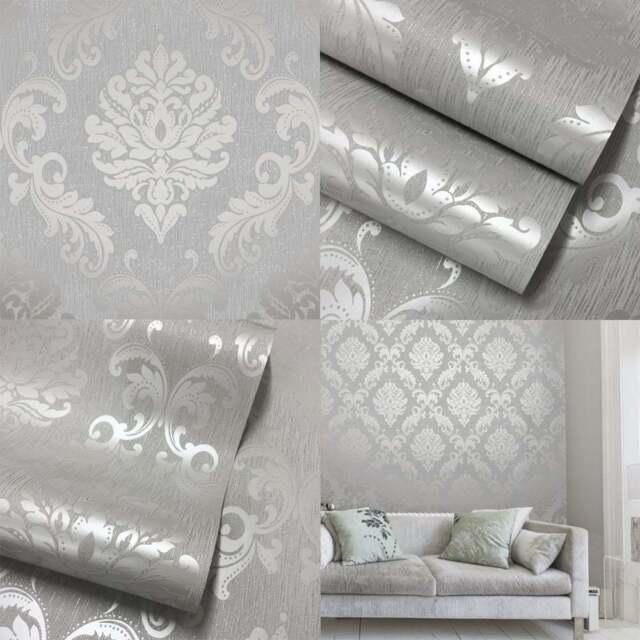 Henderson Interiors Chelsea Glitter Damask Wallpaper Soft Grey Silver H980504