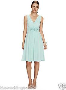 Neck Ruby V Chiffon Bnwt Bhs Green £80 Short 14 Size Bridesmaid Dress 16 Mint wqqUF84