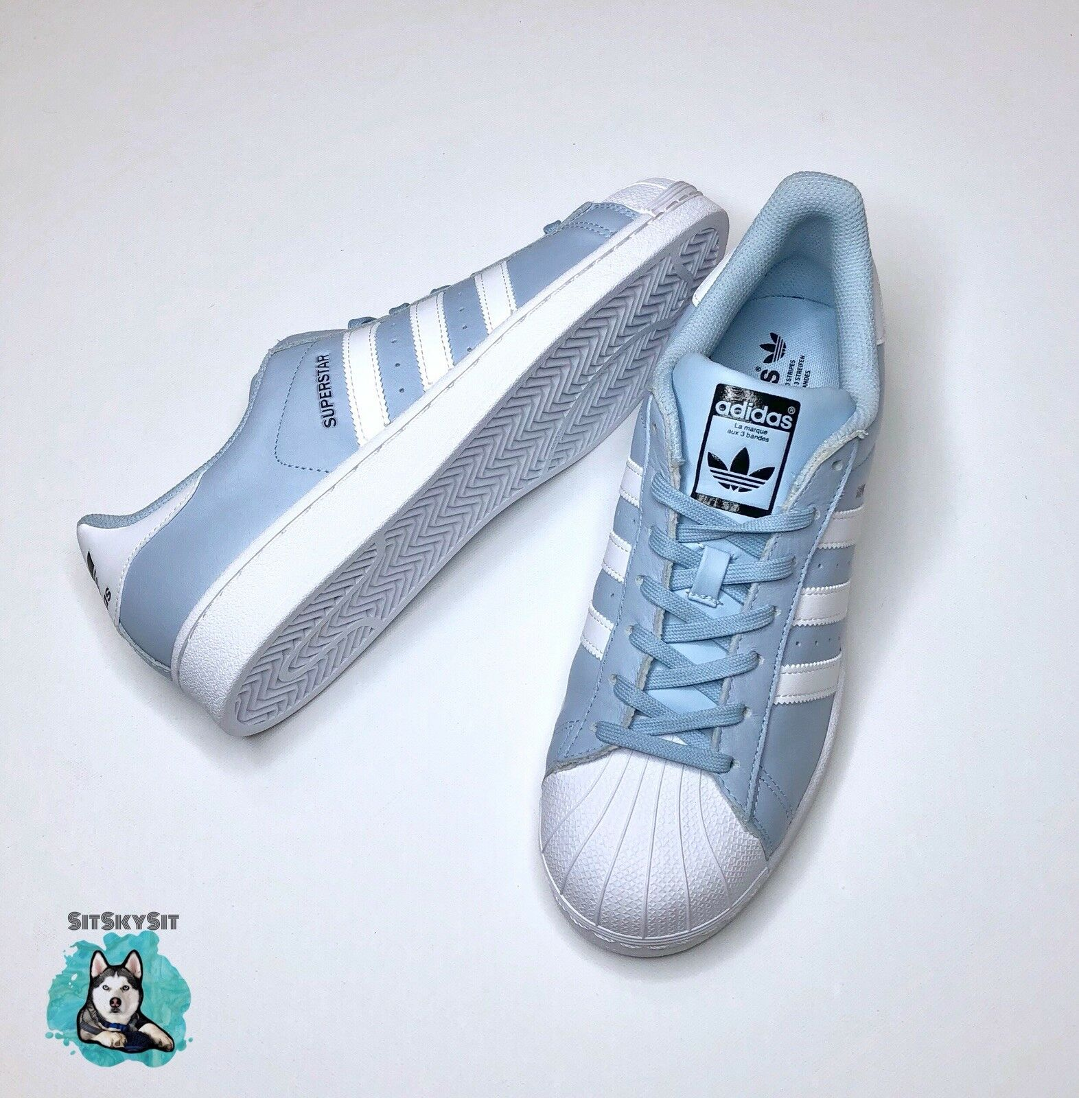 adidas Superstar Low Baby Blue White BW1305 Men Size 10