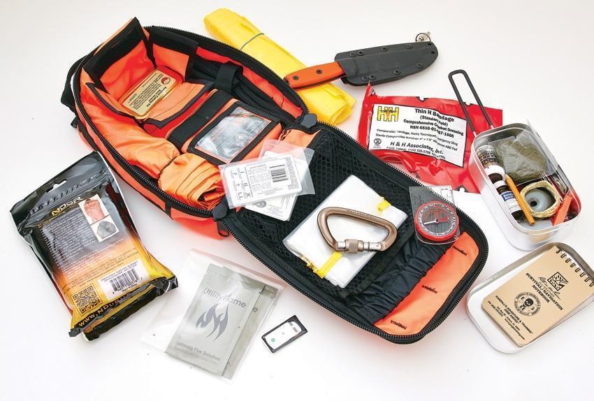 ESEE Avanzado Kit De súpervivencia Naranja y emergencia Prepper contenido + Mapa caso akitor