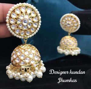 Gold Plated Kundan Jhumka Set Antique