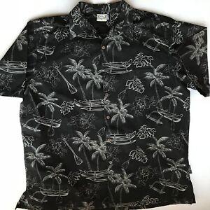 Mens-Short-Sleeved-Black-Go-Barefoot-XL-Hawaiian-Shirt