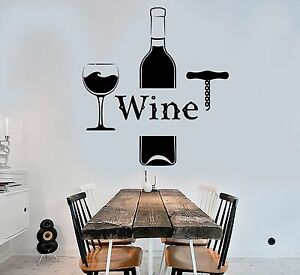 Vinyl Wall Decal Wine Bottle Glass Alcohol Bar Drink Stickers - Vinyl stickers for glass bottles