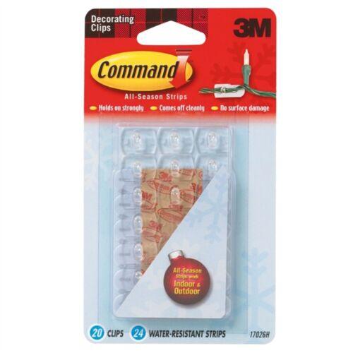 Command Indoor Outdoor Decorating Clips 24 Water Resistant Strips 20 Clips
