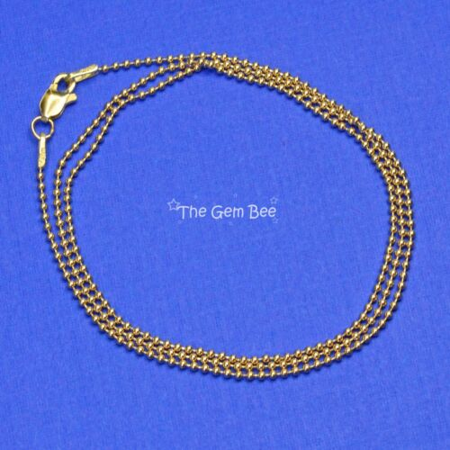 Longueur 1.2 mm 14K Solide Or Jaune Perles boule chaîne collier 18 In environ 45.72 cm