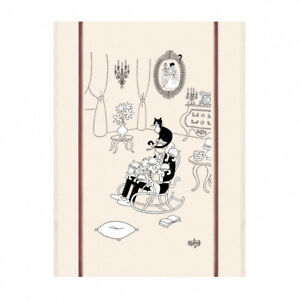 Torchons-amp-Bouchons-DUBOUT-Art-Kitchen-Dish-Towel-French-Cats-Nap-La-Sieste-Gift