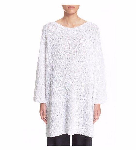 """Nuevo Con Etiquetas  Algodón Tejido De Cable De Enclavamiento Eskandar blancoo 30"""" Suéter largo o s  1095  precio mas barato"""