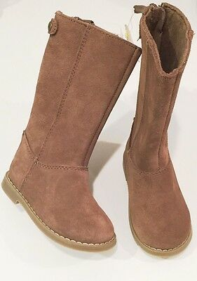 GAP Baby Toddler Girls Size 8 US Brown Suede Moto Biker Boots Booties Shoes