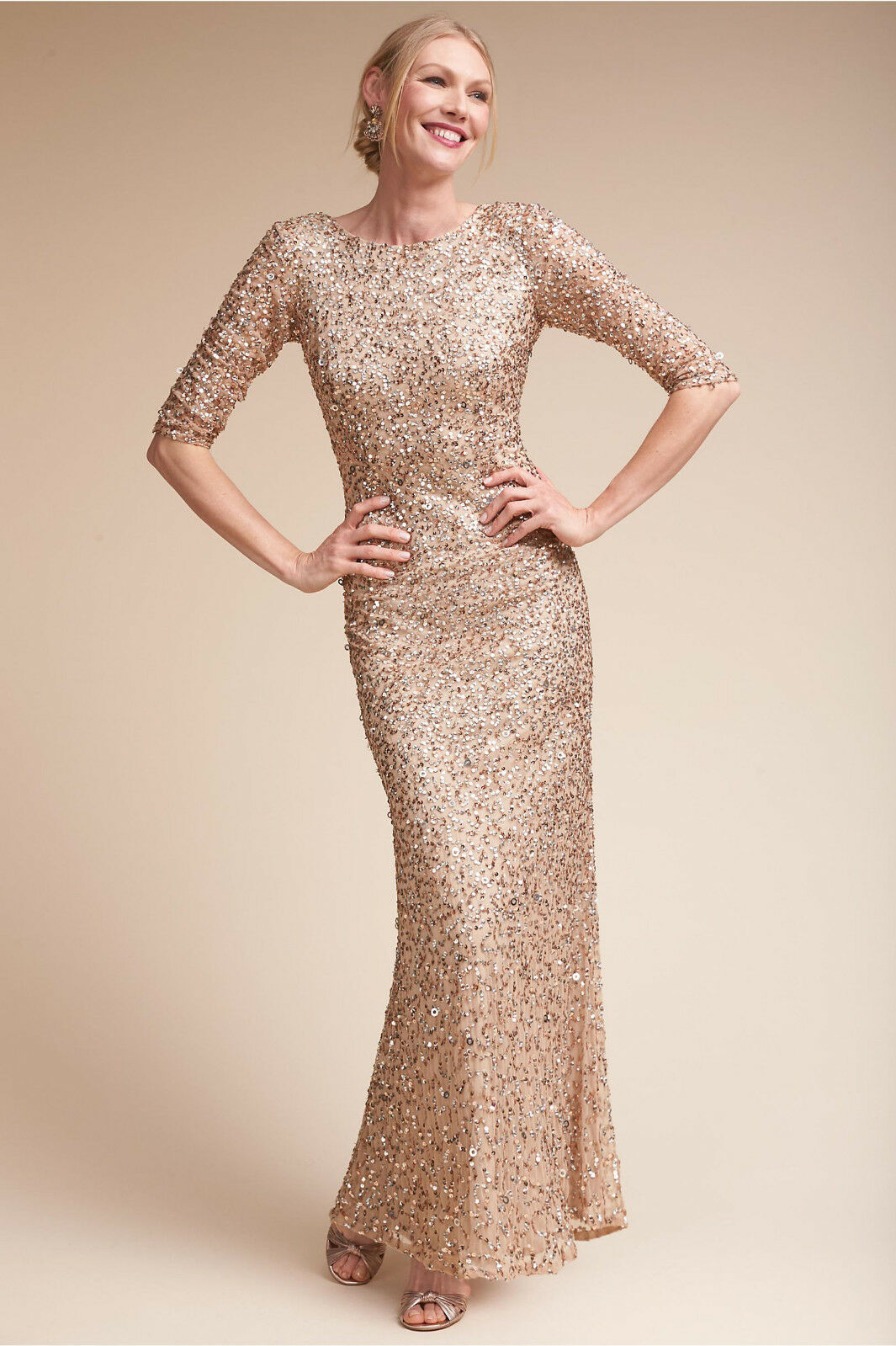 NEW ANTHROPOLOGIE BHLDN CHAMPAGNE TIRAGE SEQUIN DRESS BY ADRIANNA PAPELL SZ 10
