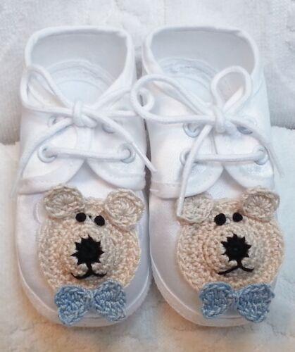 NEW WHITE SATIN SHOES BOYS BABY INFANT NEWBORN w// HANDMADE BEAR DOG 0 3 6 MONTHS