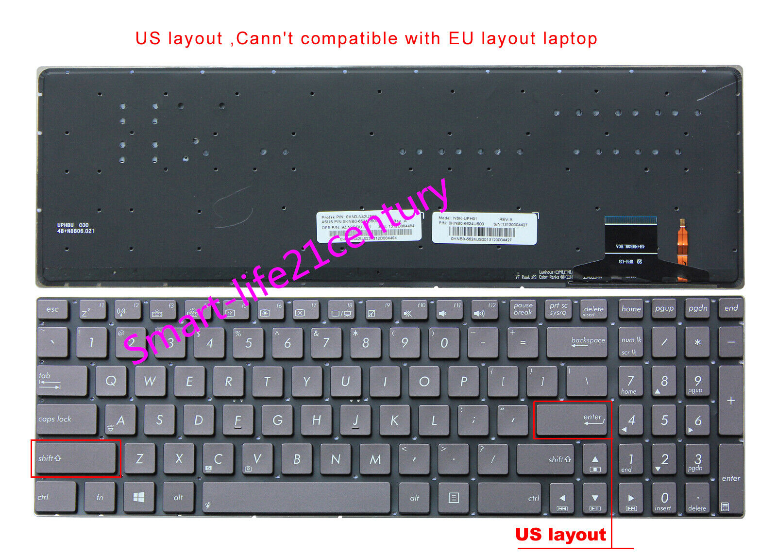 New for ASUS ZENBOOK UX51 UX51VZ UX51VZ-DB115H laptop US Keyboard with backlit