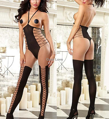 Gain Love Women Sexy One Piece Open Cup Halter Teddy Backless Lingerie Bodysuit
