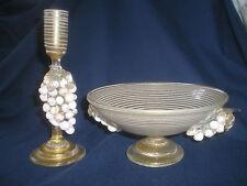 GREAT VTG MURANO VENETIAN ITALIAN GLASS SEGUSO BOWL / MATCHING CANDLE HOLDER SET