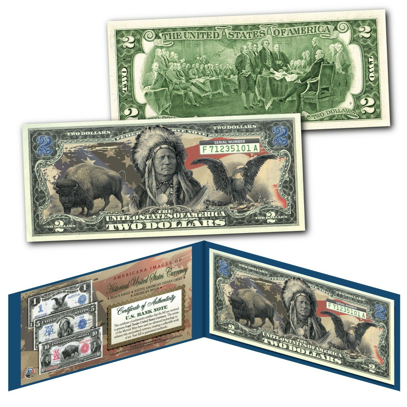 Americana Images of Historical US Currency Genuine Legal Tender $2 Bill MUST SEE 1