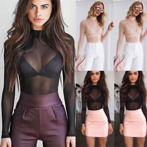 Women-Sheer-Mesh-Fish-Net-Long-Sleeve-Turtle-Neck-See-Crop-Top-Shirt-Blouse-TOPS