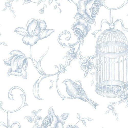 Cage à Oiseaux Floral Toile Papier Peint GC29842 Bleu Poudre blanc-cassé Lavable encollé