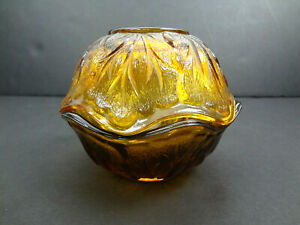 Vintage-Indiana-Glass-Pebble-Leaf-Fairy-Lamp-Mid-Century-Amber