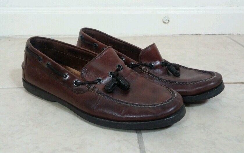 Orvis Brown Pelle Boat Fishing Moccasin Shoe 9.5 D EUC Loafer Slip-On