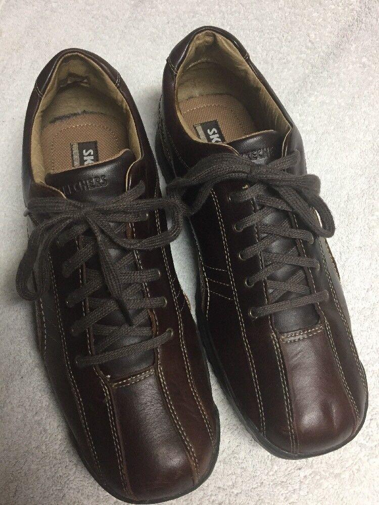 Skechers Men's Brown Leather Lace Up Athletic shoes Size Sz 10.5 M