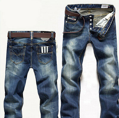 Boy Mens Fashion Brand Clothes Straight Leg Blue Denim Trouser Pant Casual Jeans